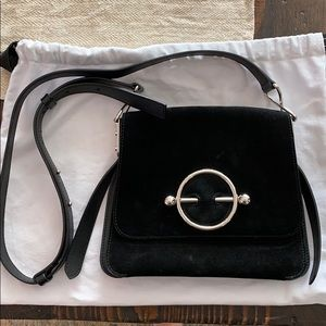 J.W. Anderson Disc Suede crossbody bag black